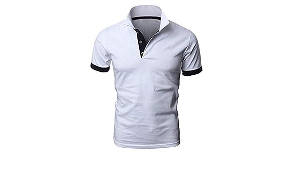 AG&T Casual Polos Manga Corta para Hombre Costura en Contraste ...