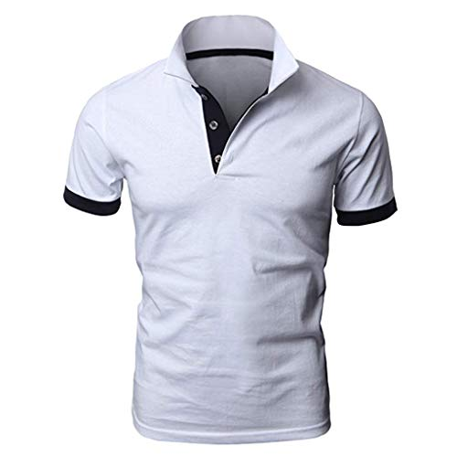 TANGSen Men's Personality Short Sleeve Shirts Summer Fashion Casual Solid Color Pullovers Shirt Classic Polo Shirt White