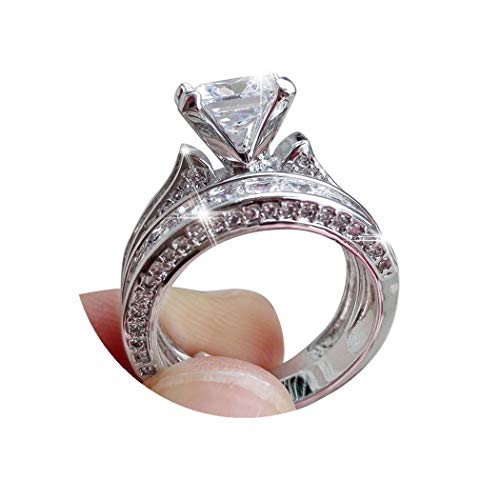 ManxiVoo Women 2-in-1 Ring Rhinestone Diamond Silver Engagement Wedding Band Heart Rings Bride Bands (Silver, -