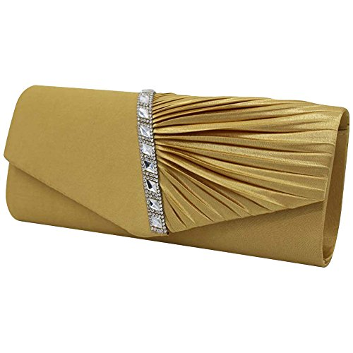 Bridal Purse Satin Diamante Gold Evening Pleated Handbag Clutch Apricot Wiwsi Wedding Party xq4SwRRY