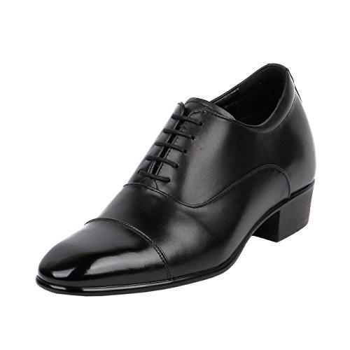 Cap High Toe Heel (Men High Heel Dress Shoes 3 Inch Height Taller Leather Black Cap Toe-JW503)