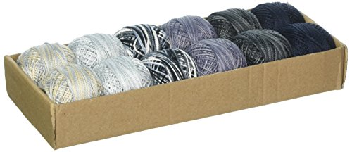 Valdani TSCPC8SMPLR Pearl Cotton Ball Sz8 73 Yd. 12 Colors Two Stormy Clouds, Multicolor