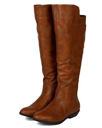 Toe Nature Knee Round High Riding Tan Breeze Women BD06 Leatherette Boot wXWrFOqaX