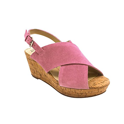 Isaac Mizrahi Live! Women's Maddie Suede Cross Band Wedges-Pink-9.5 from Isaac Mizrahi Live!