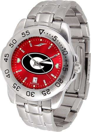 - SunTime Georgia Bulldogs Sport Steel Band Ano-Chrome Men's Watch