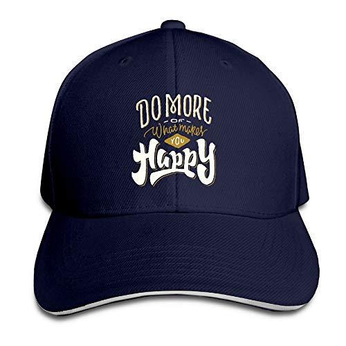 Adult Do More Happy Cotton Lightweight Adjustable Peaked Baseball Cap Sandwich Hat Men Women ()