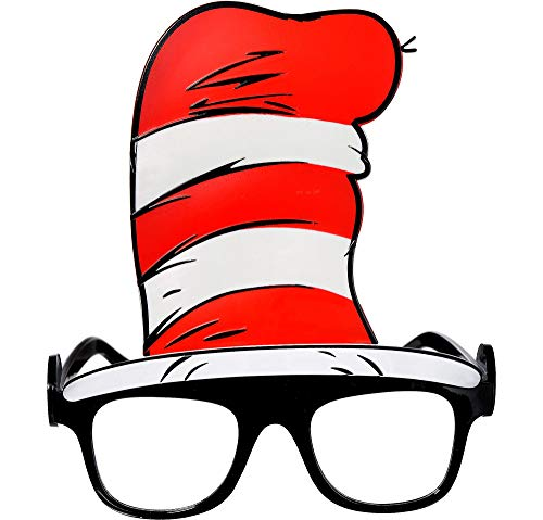 Costumes USA Dr. Seuss Cat in the Hat Glasses, Costume Accessory, Plastic, One Size, 5 1/2