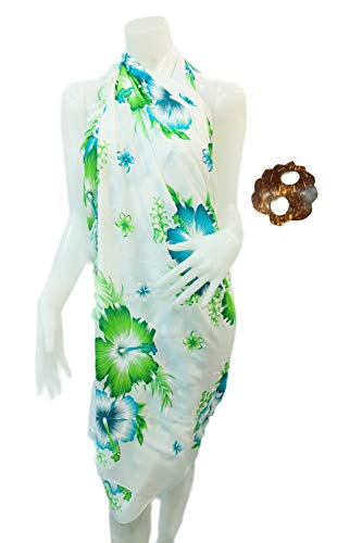 Iyara Hibiscus Flower Beachwear Cover up Bathing Wrap Swimwear Swimsuit Women Pareo Sarong and Coconut Shell Brooch (Blue and Green)