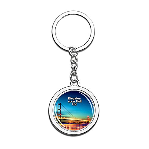 Kingston Upon Hull UK England Keychain 3D Crystal Creative Spinning Round Stainless Steel Keychain Travel City Souvenir Collection Key Chain Ring]()