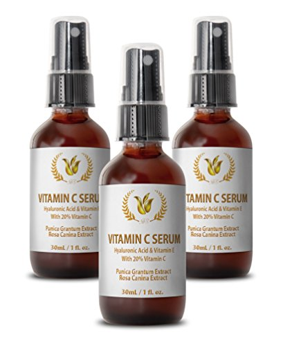 Vitamin c serum for your face - VITAMIN C SERUM WITH HYALURONIC ACID AND VITAMIN E - Face serum anti aging - 3 bottles by Health Solution Prime