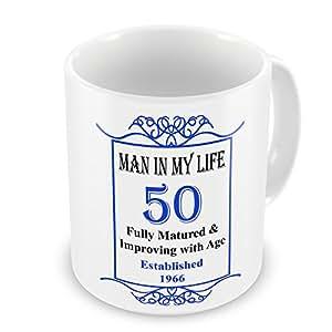 Hombre en mi vida 50th cumpleaños establecido 1966años–taza azul