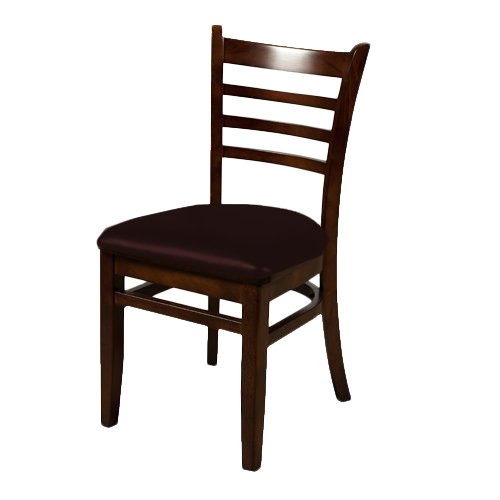 Oak Street WC101MH-ESP Solid Mahogany Wood Frame Ladder Back Dining Chair with Espresso Vinyl Seat, 32.75'' Height x 16'' Width x 17.375'' Depth