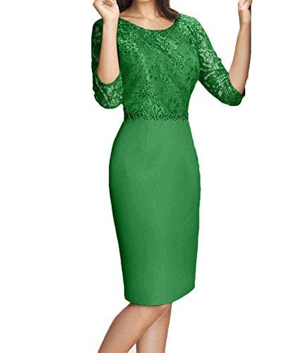 Blau Partykleider Knielang Brautmutterkleider Grün Abendkleider mit Chiffon Charmant Spitze Kurzarm Damen Etuikleider 50WfSYqg