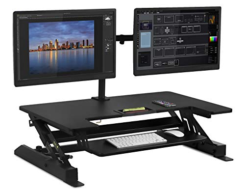 Mount-It! Standing Desk Converter with Bonus Dual Monitor Mount Included - Height Adjustable Stand Up Desk - Wide 36 Inch Sit Stand Workstation with Gas Spring Lift- Black (MI-7934) by Mount-It! (Image #2)