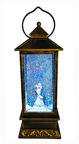 SPARKS Unique Love Gifts for Romantic Valentine's Day Anniversary Wedding Birthday Christmas and Thanksgiving. Rose-Bride & Groom Snow Spinning Water Glitter Snow Globe Lantern for Home Decoration