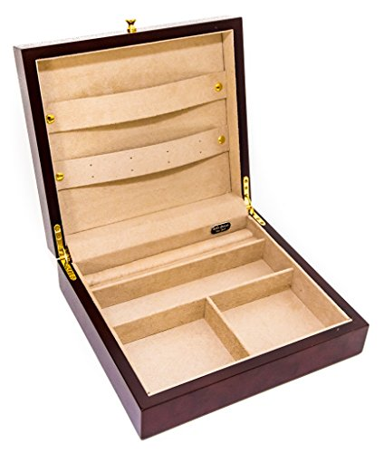 (Bello Games New York, Inc. Greenwich Avenue Deluxe Burl Finished Men's Valet Jewelry Chest)