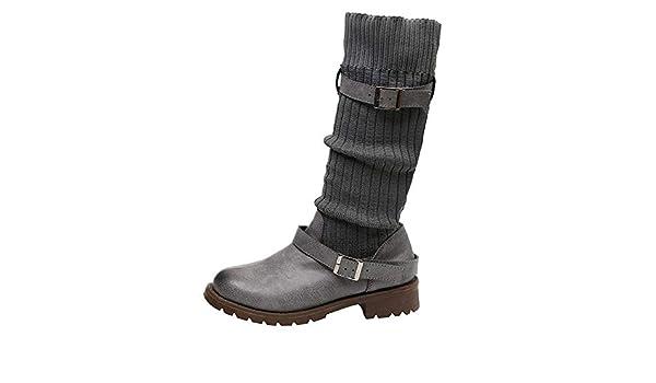 Botas de mujer, empalmes casuales, invierno, cálido, suave, punto, calentadores para las piernas, botines, correa de hebilla de cuero, moda, ...