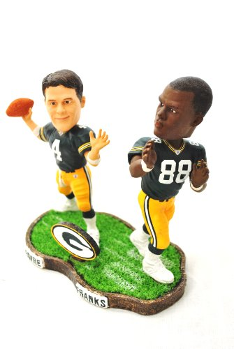 Green Bay Packers rare Duel Player (Brett Favre #4 and Bubba Franks #88)duel base action Bobble Head by forever