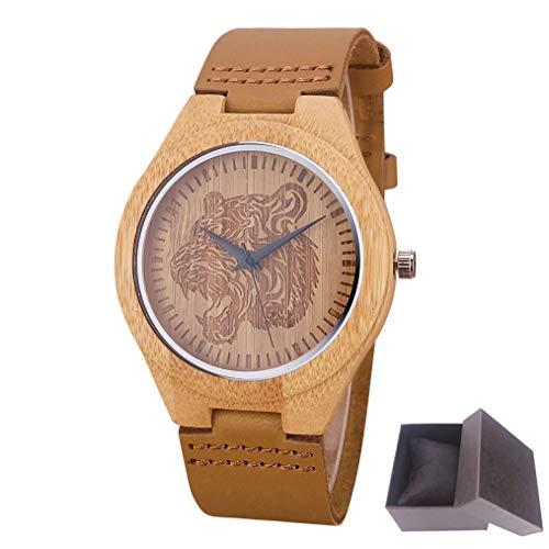 Tiger Woods Watch Ladies (Cool Tiger Engraving Dial Wood Watches Male Genuine Leather Clock Mens Wooden Watch Gift A have box)