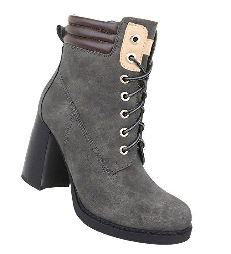 Schuhe Damen Grau Stiefeletten Schnür Boots x4qdfw87qn