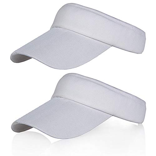 2 Pack White Sun Visors for Women and Girls, Long Brim Thicker Sweatband Adjustable Hats Caps for Cycling Fishing Tennis Running Jogging and Other Sports