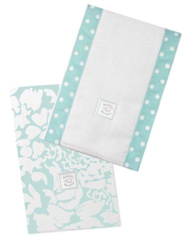 SwaddleDesigns Baby Burpies, Set of 2 Cotton Burp Cloths, SeaCrystal Lush