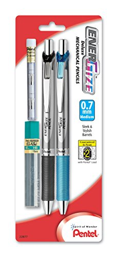 Pentel EnerGize Automatic Pencil with Lead and Erasers, 0.7mm, Assorted, 2 Pack (PL77LEBP2) (Mechanical Deluxe Energize Pencils)