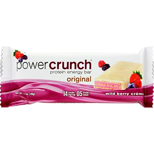 - Power Crunch Bar - Wild Berry Cream - Case of 12 - 1.4 oz - Protein Energy Bar - 14 Grams Protein - 5 Grams Sugar
