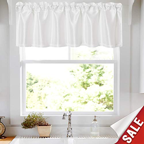 White Faux Silk Valance for Kitchen 16 inches Long Rod Pocket Dupioni Light Reducing Window Curtain Sets Satin Drapes Privacy Window Treatments, 1 Panel