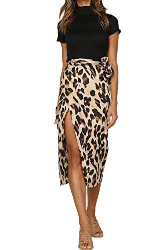 Women's Waist Knot Leopard Print High Waist Wrap Split Skirt Women's A Line Leopard Print Midi Bodycon Pencil Skirt Sexy with Stretchy Elastic Waist Brown