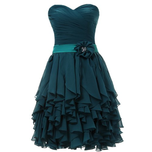 Dresstells Sweetheart Short Prom Chiffon Bridesmaid Party Homecoming Dresses for Women Size 10 Dark Green