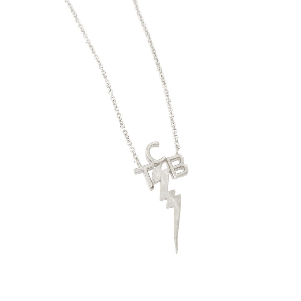 Taking Care of Business Necklace, Lightning Bolt Necklace, Minimalist Necklace, Statement Necklace, TCB Necklace, Gold Necklace BN875-2 (Silver)