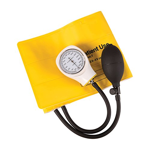 MABIS Disposable Sphygmomanometer Manual Arm Blood Pressure Cuffs, Single Use, Adult, Box of 5, Yellow ()