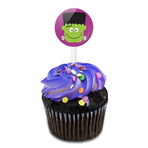 Frankenstein Halloween Cake Cupcake Toppers Picks Set]()