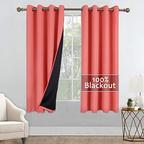 YGO 100 Percent Blackout Curtain Panels Thermal Insulated Black Liner Curtains for Nursery Room, Noise Reducing and Heat Blocking Drapes for Windows Set of 2 Coral Color 52 Wide by 63 Long