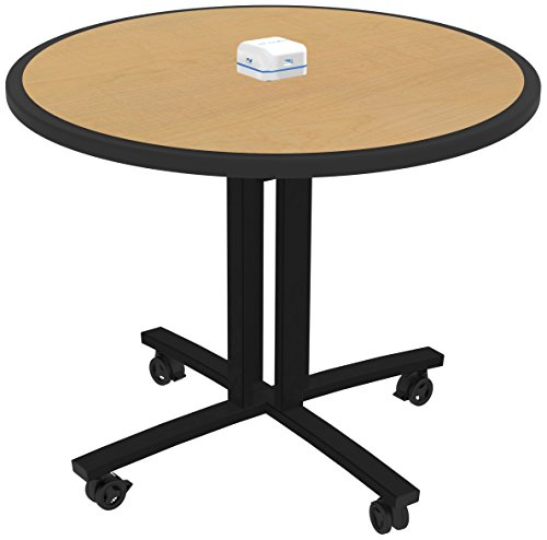 lton RELOAD Mobile Table with Usb Hub for Charging Mobile Devices, Maple Round Top W/ Black Leg, 36