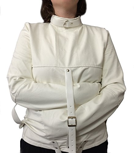 Unisex White Faux Leather Straight Jacket Costume -