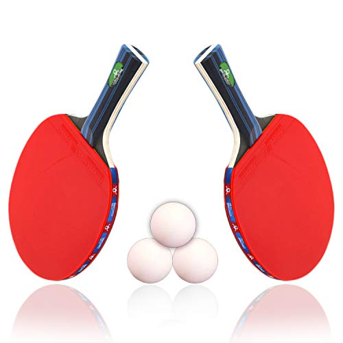 5 Star Professional Ping Pong Table Tennis Paddle Advanced Trainning Ping Pong Racket Set of 2 and 3 Balls with Carry Case,7 Ply Wooden Blade with Long Handle for Indoor Sport Team Games by HongM