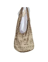 Thai Hippie Bag Elephant Sling Crossbody Bag Purse Zip Handmade Light Brown,XL