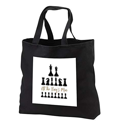 Alexis Design - Sport Chess - Set of black chessmen and a text All the kings men on white - Tote Bags - Black Tote Bag JUMBO 20w x 15h x 5d (tb_302155_3)