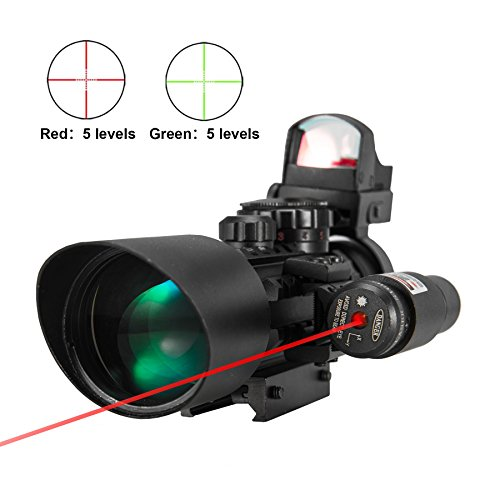 Pinty Premium 3-in-1 combo 3-10x40EG Mil Dot Tactical Riflescope Reticle with Laser Sight and Red Dot Sight Perfect for Hunting