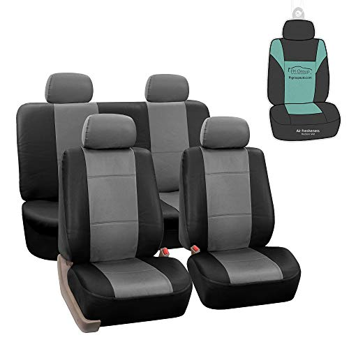 FH Group PU002114 Premium PU Leather Seat Covers (Gray) Full Set with Gift - Universal Fit for Cars Trucks and SUVs