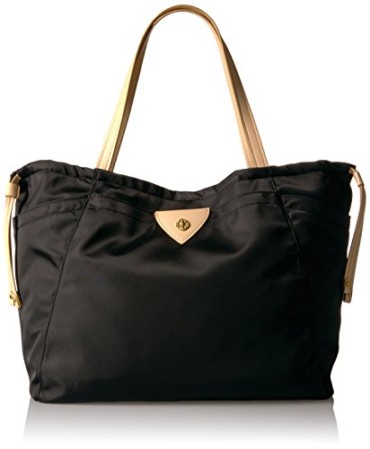 Anne Klein Aly Large Drawstring Tote, Black-Black/Natural by Anne Klein
