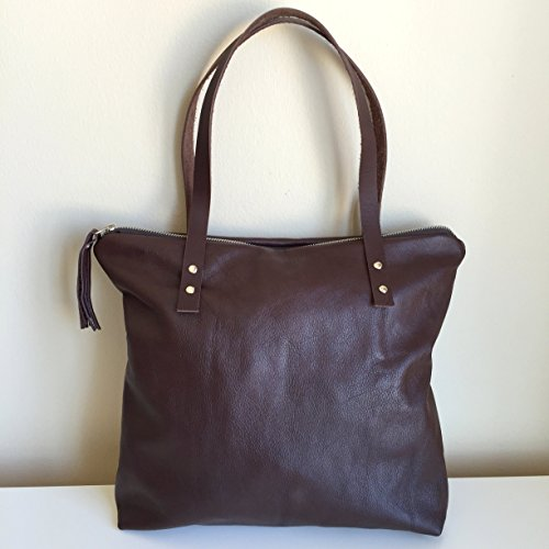 Brown Leather Tote Bag,One of a kind Dark Brown Genuine Shoulder Bag