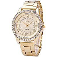Hot Sale! Charberry Mens Diamond Gold Watch Crystal Rhinestone Stainless Steel Analog Quartz Wrist Watch (Golden)