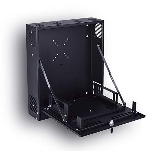 Kenuco Heavy Duty 16 Gauge Steel DVR Security Lockbox with Fan and Swing Open Top (18'' x 18'' x 5'' Black) (Camera Dvr Enclosure)