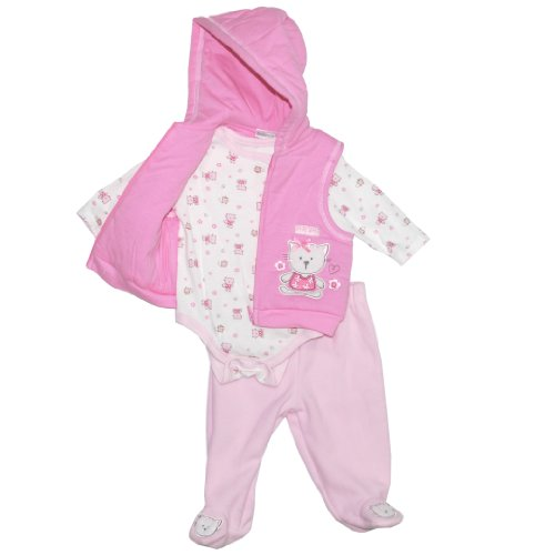 Baby Works Baby Girls' Pink Kitty 3 Piece Vest Set