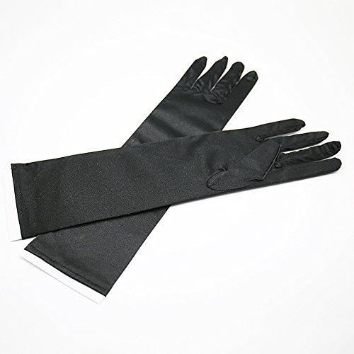 クレジット明るいアイデアSeliyi 手袋 性のサテン手袋フォーマルパーティー フェスティバル ロング 黒