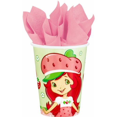 Amscan Pretty Strawberry Shortcake Birthday Party Paper Cups Drinkware (8 Pack), 9 oz, Multicolor