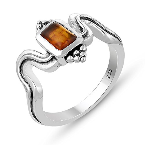 Genuine Gemstone .925 Sterling Silver Red Amber ()